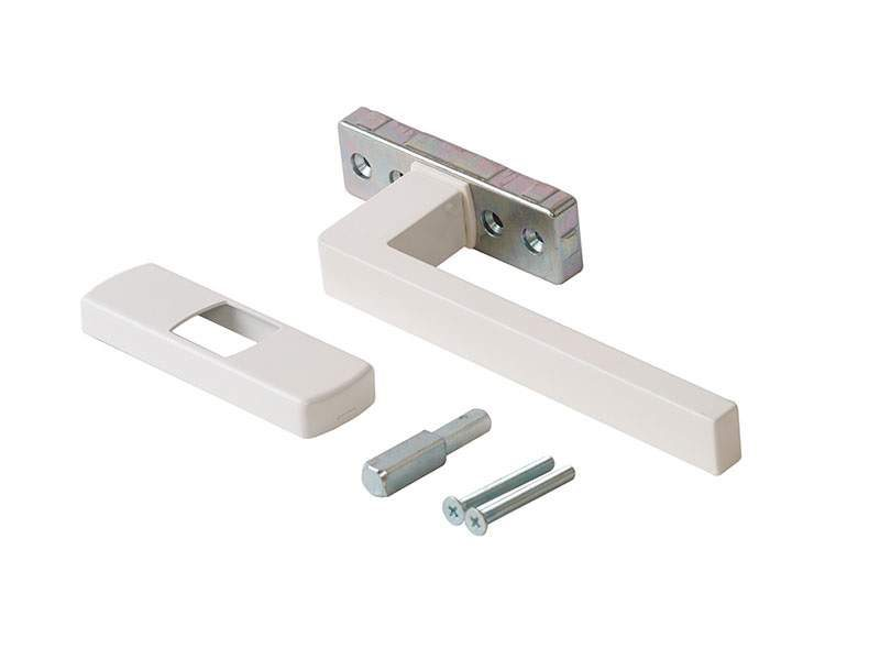 Ручка KORA 175 с четырёхгранным штифтом 7 мм, 180 градусов, межосевое 43 мм, GOS-S, белая RAL9010, 0270041001