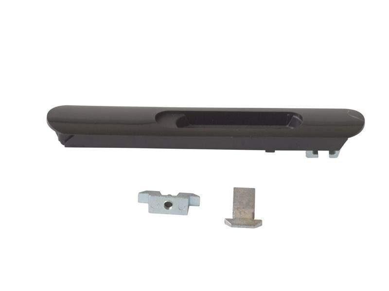 Защёлка балконная ELEMENTIS со скрытым монтажом 3 части RAL9005 черный с черным ползунком