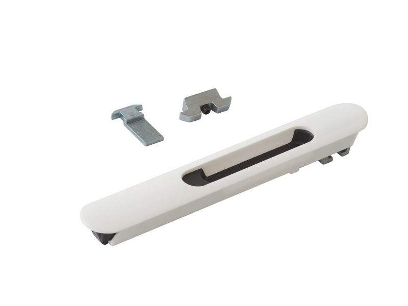 Защёлка балконная ELEMENTIS со скрытым монтажом 3 части RAL9016 белый с черным ползунком