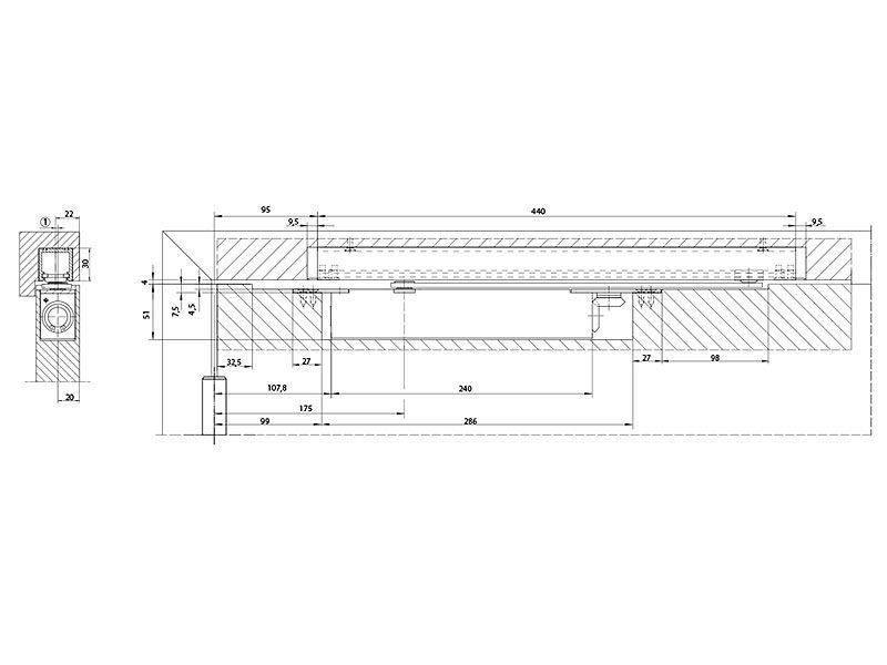 Доводчик дверной врезной Boxer EN2-4 б/тяги, серебр.