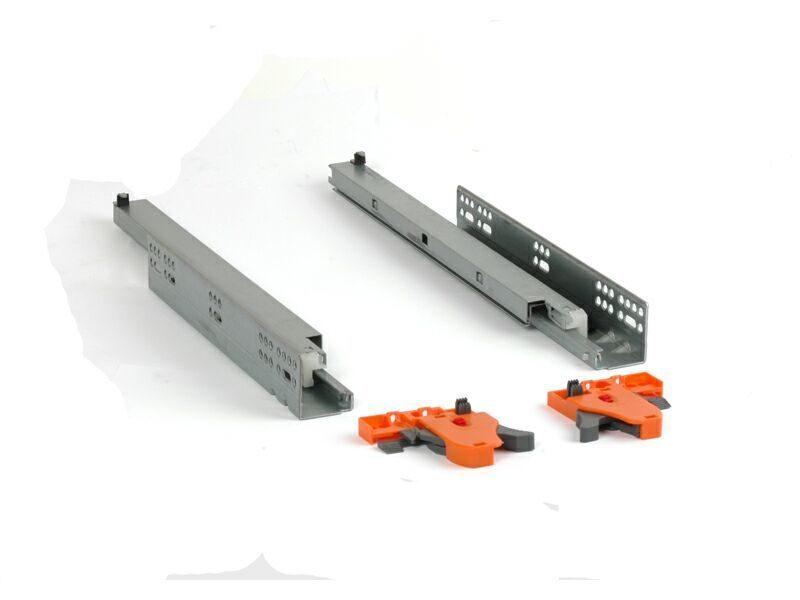 Комплект направляющих скрытого монтажа (полного выдвижения, 3д регулировка) Firmax L=400мм, д/ДСП 16мм с Soft-Close, (2 напр.+2 крепл лев.+прав.)