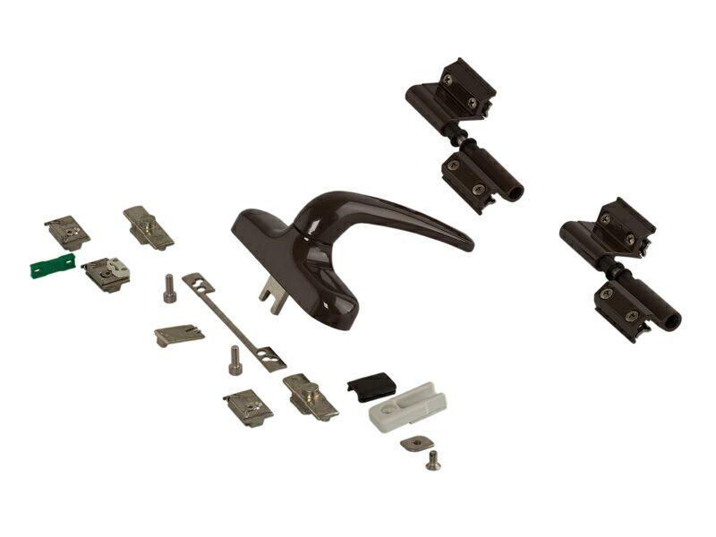 Комплект поворотный V.01, коричневый RAL8019 (ручка, петли, запоры, микровентиляция) 01184640K