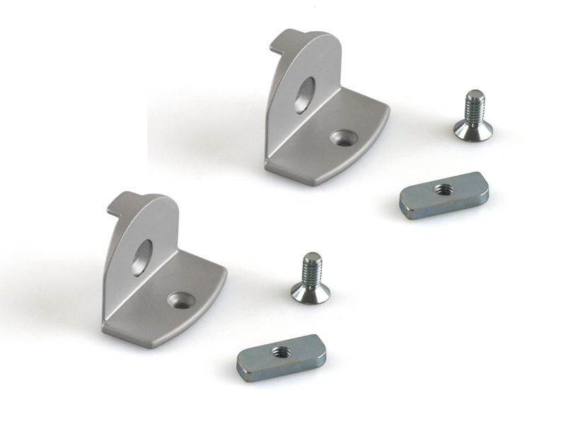 Прижимные крепления для деревянной полки, серебро, (комплект)