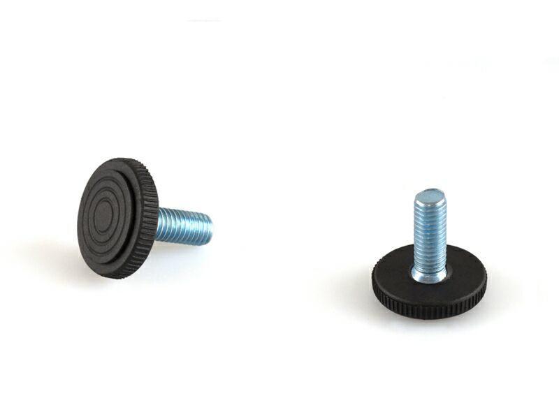 PI02 Опора с кругл. пластик. основ., М8, L=22 мм, сталь, черн.