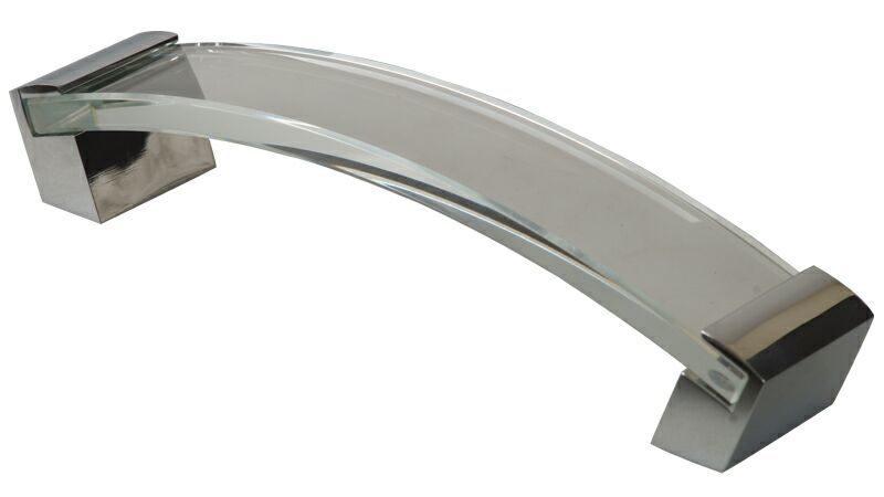 Ручка-скоба 160мм, стекло+металл, хром