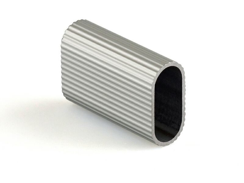 Штанга овальная для вешалок, алюмин. рифленая 3000 мм, серебро