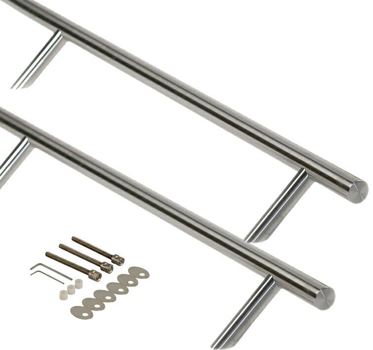 Ручка для алюминиевых дверей со смещением, комплект с креплением, L=1600, м/о=700/700, D=32