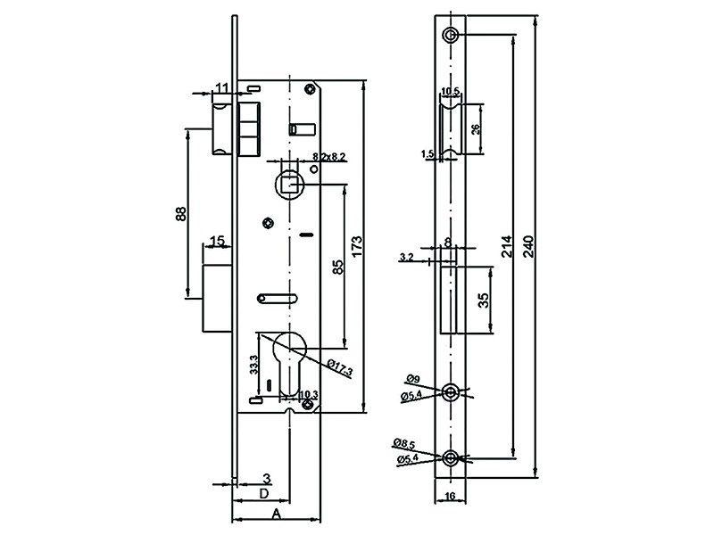 Замок Elementis 153 PZ/F16/35/85/8 риг с защелкой хром полированный