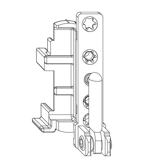 Нижняя петля MACO 54727 на раме левая 12/20 - 130 кг