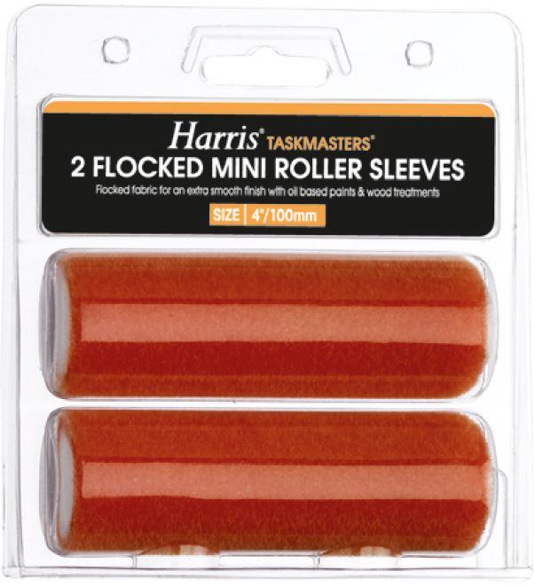 Комплект мини-валиков для бугельных ручек HARRIS, TASKMASTERS, флок, (2 штуки в упаковке), 4 дюймов, 100 мм