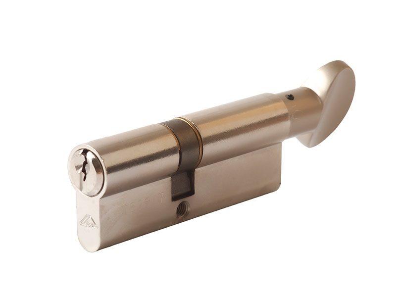 Цилиндр 45(ручка)-35(ключ) с плоской ручкой, никелир.