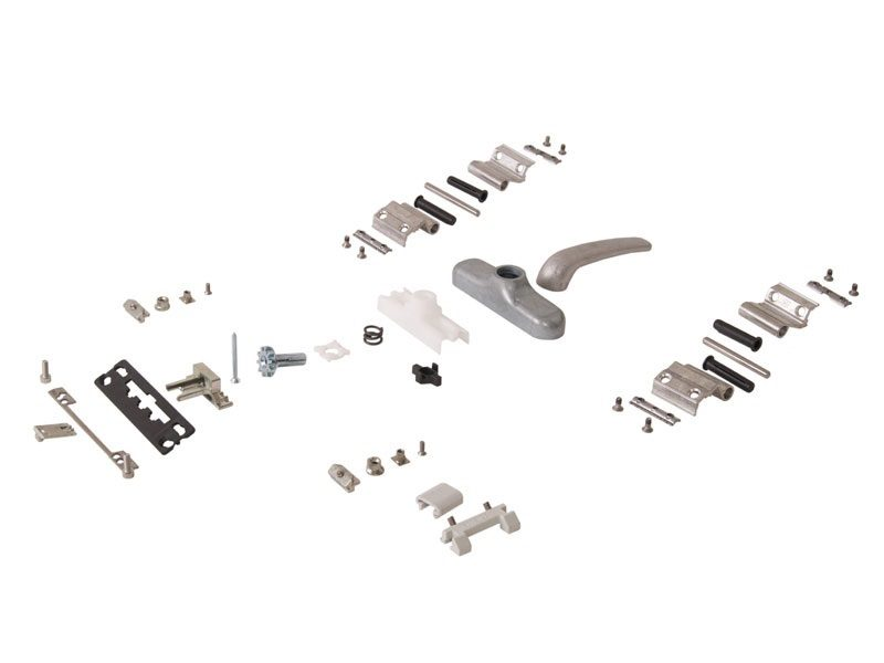 Комплект поворотный NEWTEC, неокрашенный (ручка,петли,запорные части)