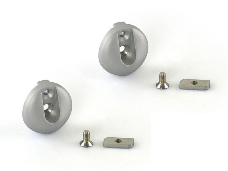 Крепление овальной штанги для вешалок, серебро (комплект)