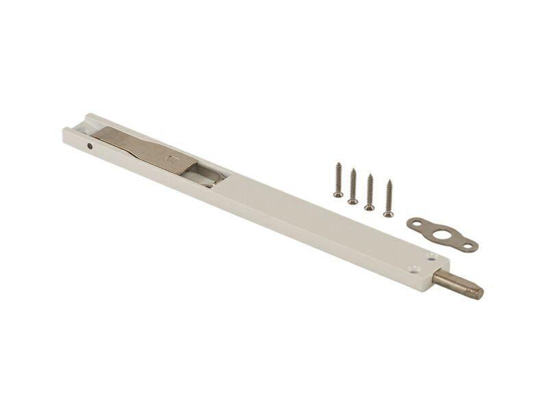 Накладной шпингалет ELEMENTIS для алюм дверей 220*22*8 мм с ответ 2 шуруп, белый