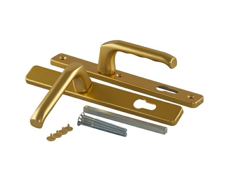 Гарнитур нажимной сплошной, HOPPE золото матовое (для профиля 58-62 мм)
